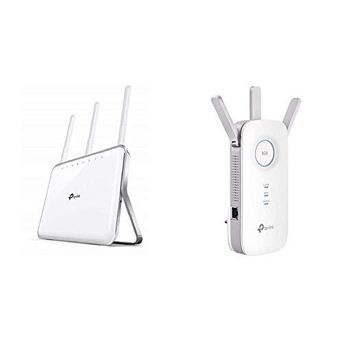 TP-Link Archer C9 - Gaming Router Gigabit inalámbrico, Banda Dual 1900 Mbps, MIMO 3T x 3R + RE450 Extensor de Rango de Repetidor WiFi de Banda Dual Universal, 3 Antenas Externas