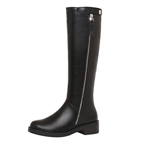 Women's Long Boot Shoes,Ladies Side Zipper Solid Riding Boots Comfort Low Heel Round Toe Warm Knee High Boot