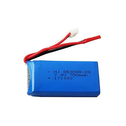 RFGTYH Batería Lipo de 7,4 V 700 mAh 653048 para FT007 RC Barco Juguetes lancha rápida para Syma F1 FX059 avión de Control Remoto 2 s batería de 7,4 v Burgundy