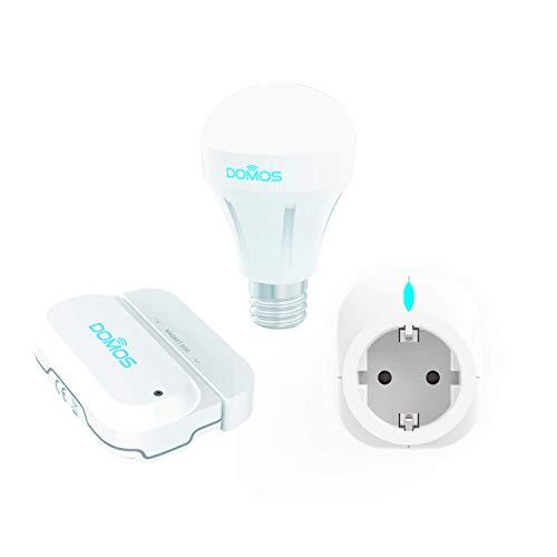 DOMOS BASIC KIT Inclusief openingssensor WIFI-stekker Slimme lamp RGB Gratis app Domos Compatibel met Amazon Alexa en Google Home Eenvoudige installatie 100% WIFI Aanwezigheidssimulatie