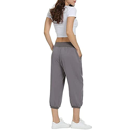 Bolan Fey Pantalones cortos informales de verano para mujeres que pierden y cómodos pantalones de yoga, deporte, correr, fitness, bolsillos lisos, con cordón gris M