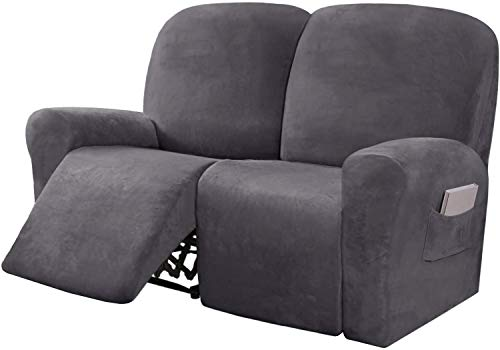 LINFKY 6-Pieces Stretch Velvet Loveseat Recliner Cover Reclining Couch Covers for 2 Seater Couch Furniture Covers for Recliner with Side Pocket, Soft Thick Form Fitted (Gray)