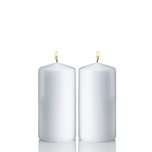 Light In The Dark White Pillar Candles - Set of 2 Unscented Candles - 6 inch Tall, 3 inch Thick - 36 Hour Clean Burn Time