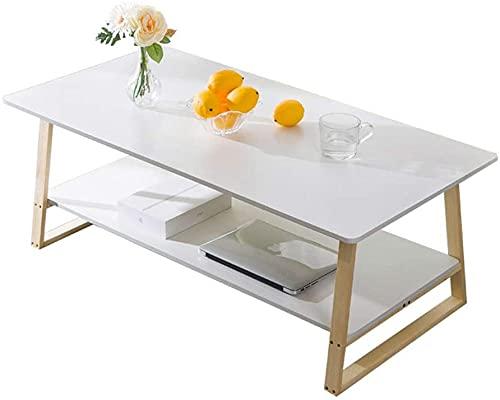Tavolo da tè con ripiano portaoggetti per divano, tavoli, squadra, cocktail, salveorganizzatore, tavolino per salotto, piccoli scomparti laterali (colore: bianco, dimensioni: 100 x 60 x 42 cm)