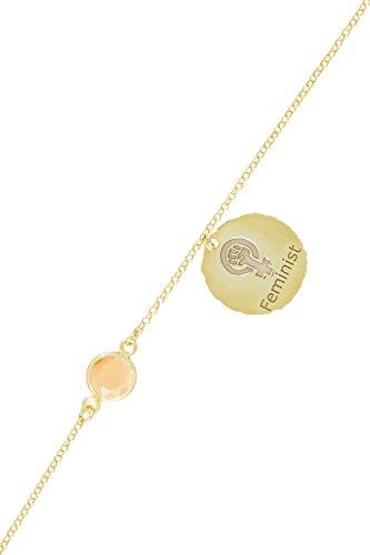 Córdoba Jewels | Pulsera en Plata de Ley 925 bañada en Oro con diseño Feminist Coral Oro
