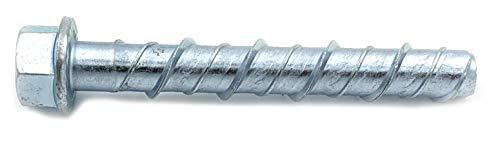 CONFAST LDC124 1/2' x 4' Zinc Plated Large Diameter Concrete Screw for Anchoring to Masonry, Brick or Block (25 per Box)