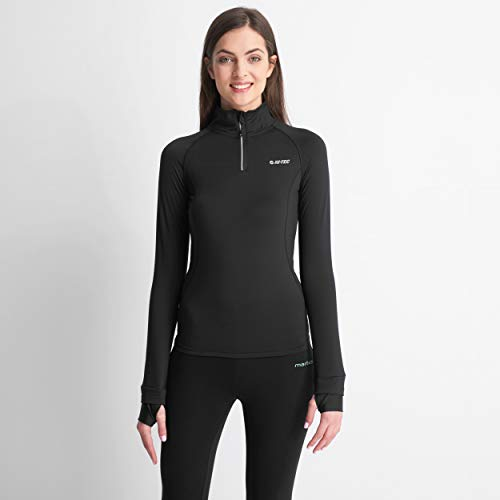 Hi-Tec - Fitness-Longsleeves für Damen in Black/Reflective, Größe XL