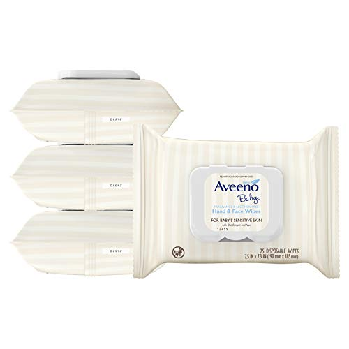 Aveeno Baby Hand & Face Cleansing & Moisturizing Wipes with Oat Extract and Aloe, Fragrance-Free Wipes for Sensitive Skin, Free of Sulfates, Alcohol, Parabens, and Dyes, 25 ct