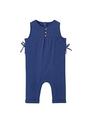 Vertbaudet Jumpsuit aus Baumwolle, für Babys, Mädchen, Blau, Flagge 9 m – 71 cm
