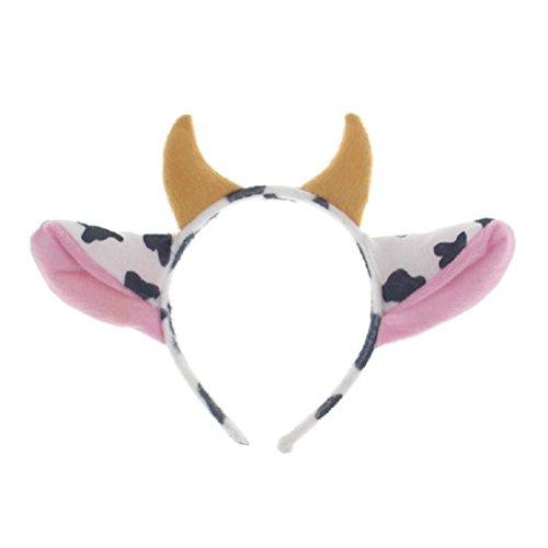 Toyvian Orejas de animales - Diadema con orejas de vaca lindas con cuerno, aro de pelo de dibujos animados para nios