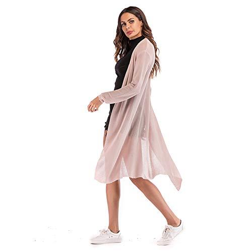 YYH gebreide damesjas lange mouwen elegante badpak strand-vertukking badmode cardigan blouse losse vertukking mantel Kimono Large roze