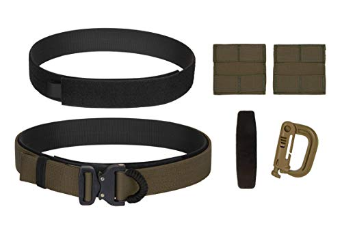 A.W.S. Inc Tactical Belt System with D-Ring/Cord Cobra Buckle, Inner Belt, 2 Molle Panels and Glove Hook (Ranger Green, M)