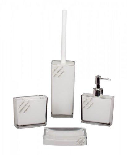 Gravidus 4-teiliges Design Bad Set Strasssteine Strass Seifenspender Bürste, Bad Set Variante:Weiss DREI Streifen