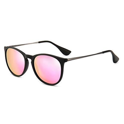 SUNGAIT Vintage Round Sunglasses for Women Classic Retro Designer Style (Black Frame (Matte Finish)/Sakura Pink Lens) 1567SHKYHF