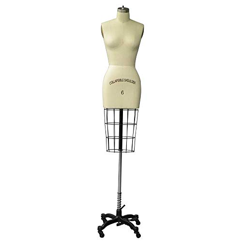 Professional Female Half Body Dress Form with Collapsible Shoulder and Arm (Size 6)
