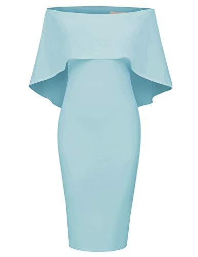 GRACE KARIN Women Off Shoulder Batwing Cape Midi Dress XL Light Blue