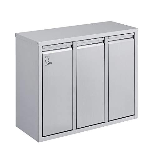 SVITA H3X15 45 Liter Mülleimer Abfallsammler Abfalleimer Mülltrennung mit Schub-Fächern Küchen-Eimer Papierkorb Allzweck
