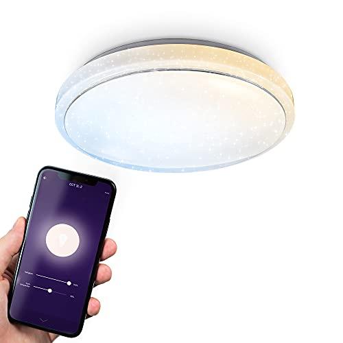 B.K.Licht Plafoniera Smart, App, dimmerabile con lo smartphone, luce calda neutra fredda, lampadario Wi-fi, decoro a cielo stellato, Ø38.5cm, LED integrati 1.920Lm 24W