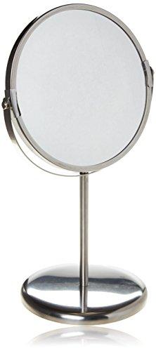 Ikea Trensum Kosmetikspiegel mit Ständer, doppelseitig, mit Vergrößerung, Rahmen aus rostfreiem Edelstahl