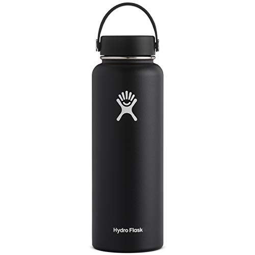 Hydro Flask Water Bottle - Stainless Steel & Vacuum Insulated - Wide Mouth with Leak Proof Flex Cap - 40 oz, Black
