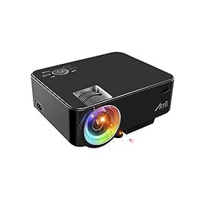 Proyector Portátil, Artlii Mini Proyector 2000 Lúmenes, soporta 1080p Full HD,con HDMI, USB, SD, AV, VGA e Interfaz de Auriculares, Conectar Tablets, TV Stick, Disco Duro, PS4, Xbox y Más - Negro
