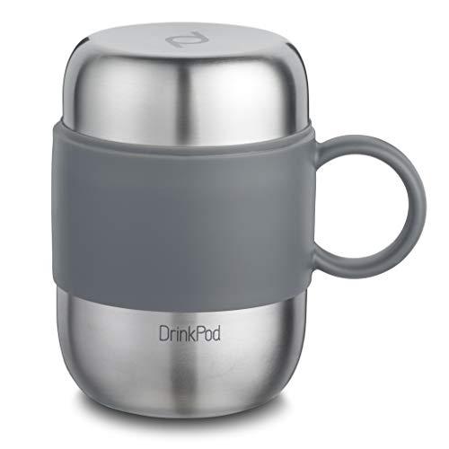 Pioneer DrinkPod mit Griff Isolierbecher aus Edelstahl 0,28 L Doppelwandig Thermobehälter 6 Stunden Heiß 24 Stunden Kühl Auslaufsicher BPA-Frei - Gebürsteter Stahl