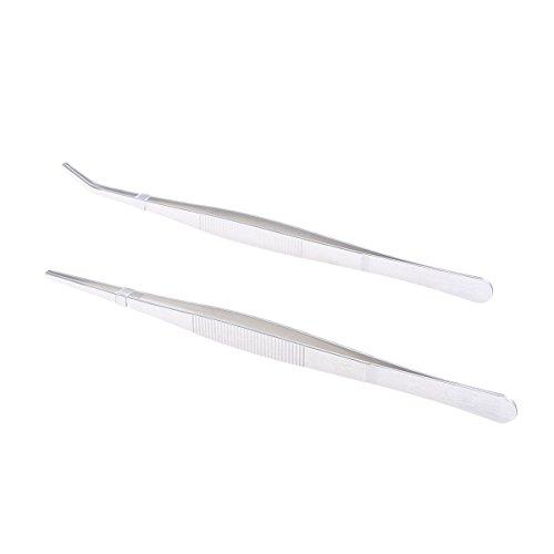 BESTOMZ 2pcs Edelstahl gerade und gebogene Zangen Pinzetten Fütterung Zange für Reptilien Schlangen Echsen Spinnen (Silber)