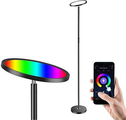 Lámpara de pie LED Anten uplight regulable, lámpara de pie Smart WIFI de 25W negro moderno con RGB, temperaturas de color y brillo, compatible con Alexa, Google y APP para salón, dormitorio