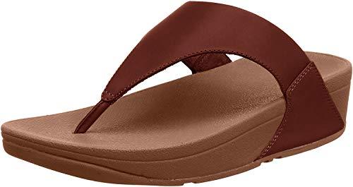 FitFlop New Women's Lulu Leather Thong Sandal Cognac 10