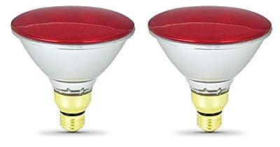 Sterl Lighting - Pack of 2 PAR38 Red Floodlight Spotlight Bulb Halogen Reflector , 70 Watts , 120 Volts , E26 Medium Base , 300 Lumens