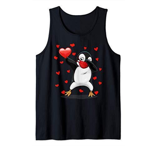 Dabbing Penguin And Face Mask Heart Disfraz de San Valentn Camiseta sin Mangas