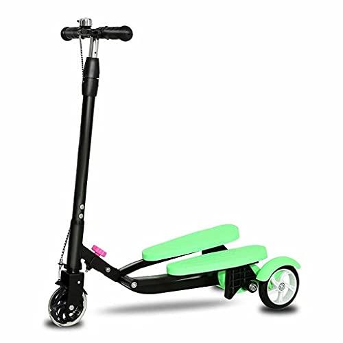 WZWHJ wunderschönen Faltungsroller-Roller-Roller-Roller-Dreirad-Drift-Roller für Jungen und Mädchen 5 Jahre alt und oberhalb Einstellbarer Höhe-Swing-Roller (Farbe: Grün) (Color : Green)