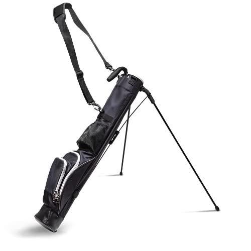 Sunday Stand Bag | Lightweight Carry Golf Bag with 3 Pockets, Speed Handle, and Padded Strap for Driving Range, Par-3, and Executive Courses (Black)