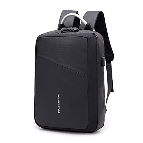 Mochila de la computadora portátil con carga de la escuela resistente al agua de carga USB Mochila con contraseña y regalos de correa de hombro acolchados transpirables para hombres mujeres (15.6 'gri