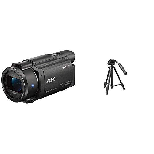 Sony FDR-AX53 - 4K Ultra Handycam (20-Fach optischer Zoom, 5-Achsen Bildstabilisation, NFC) schwarz & VCTVPR1.CE7 Stativ mit Kamerasteuerung