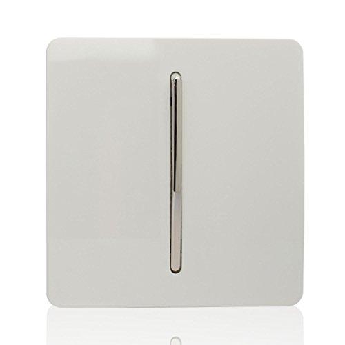 Trendi Switch - 1 Interruptor de Luz Basculante de 10 Amp Blanco Brillante Moderno Artístico de 2 Vías