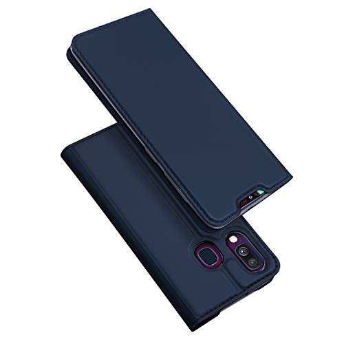 DUX DUCIS Coque Samsung Galaxy A40, Premium Étui de Protection [Stand Support] [Porte-Cartes de Crédit] [Fermeture Magnétique] TPU Bumper Housse en Cuir pour Samsung Galaxy A40 (Bleu Profond)