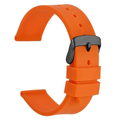 WOCCI 22mm Correa de Reloj de Silicona con Hebilla Negra, Banda de Repuesto de Goma Suave (Naranja)