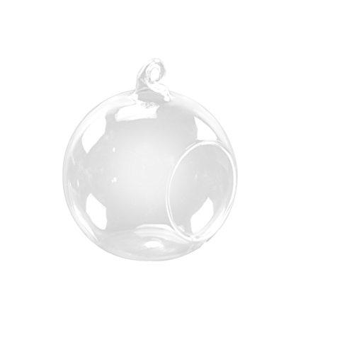 BESTOMZ 2 x Glaskugel Vase Teelichthalter Blumentopf zum Aufhängen für Weihnachten Hochzeitsdeko 10cm