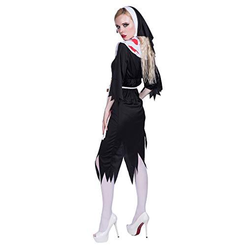 Lomelomme Halloween Damen Cosplay Halloween Charakter Zombie Nonne Kostüm Erwachsene Halloween Kostüm Ausdruck Cosplay Kleidung Requisiten Kopfbedeckung Gürtel und Kleid