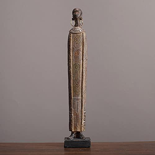 JSIHENA Mujer Africana Figura Decoración Señora, Estatua de Personaje de Escultura Artística para Mujer, Estatua de Resina Africana Abstracta Artesanía Moderna Decoración del Hogar,B