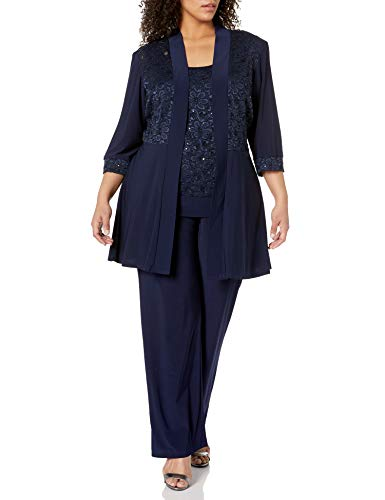 R&M Richards Women's Plus Size Lace Pant Set, Navy, 20W