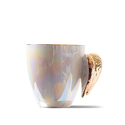 Golden Winged Angel Mug Stylish Novelty Ceramic Mug Gifts Pearlistic Mug /Porcealin Cup Angel gifts for Girl Women,bridesmaid gifts,Mother's Day Gifts Mug