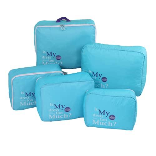 N\C Juego de 5 cubos de almacenamiento de nailon impermeables para equipaje