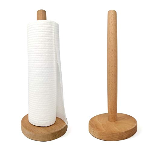 Yistao 2 Pack Wood Paper Towel Holder Countertop Wooden Paper Towel Holder Roll Dispenser Stand for Kitchen Countertop Dining Room Table