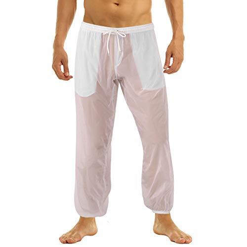 TiaoBug Pantalon Bas de Pyjama Homme Longue Pantalond de Plage Pantalon Décontracté Respirant Pantalon Eté Casual Pantalon de Sport Jogging M-2XL Blanc 2XL