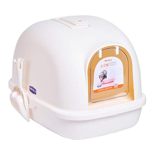 ZCY CLT0906 kattentoilet met deksel, groot gesloten kattentoilet, helder filter, eenvoudige reiniging van brood, B, Wit