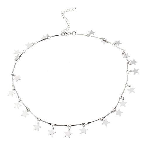 FENICAL Collar de gargantilla de mujer Collar de estrella afortunada Cadena de disco colgante de cadena de plata