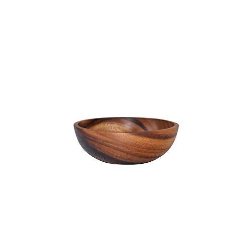 DIYARTS Ensaladera de Madera de Acacia, Vajilla de Estilo Japonés de Grano de Madera Plato de Frutas para El Hogar Ensaladera de Arroz y Ramen 3 Tamaños (16 * 7)