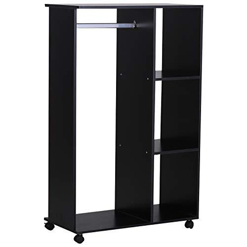 HOMCOM Kleiderschrank offener Dielenschrank, mit Kleiderstangen und Räder, für Schlafzimmer, E1 Spanplatte, Aluminium, 80x40x128 cm, Schwarz